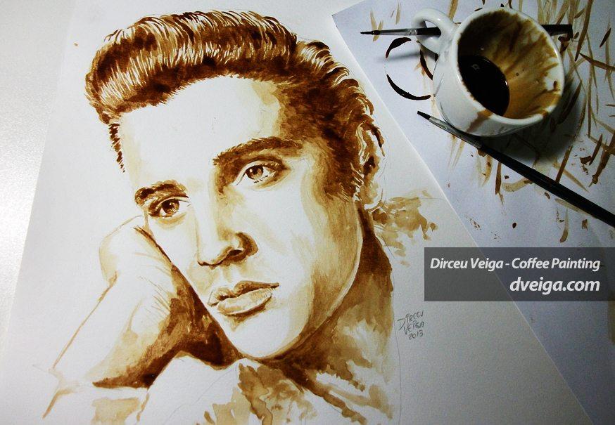 Pintura Elvis Presley feita com Café - Coffee Art