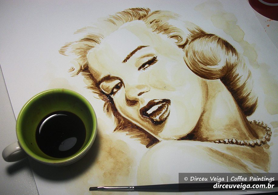 Marilyn Monroe - - Coffee Art - Pintura com Café