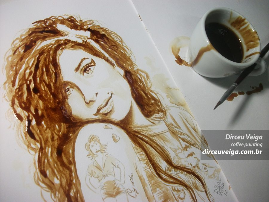 Amy Winehouse - - Coffee Art - Pintura com Café
