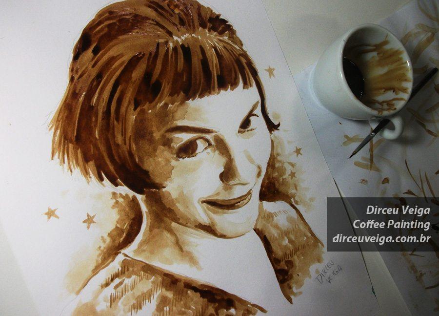 Amelie - Coffee Art - Pintura com Café