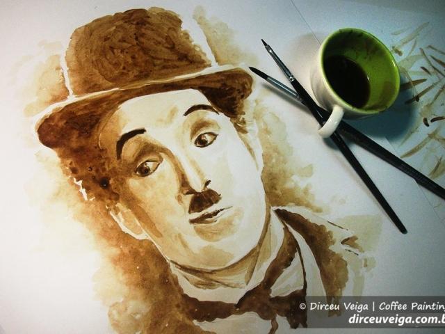 Charles Chaplin - Coffee Art - Pintura com Café
