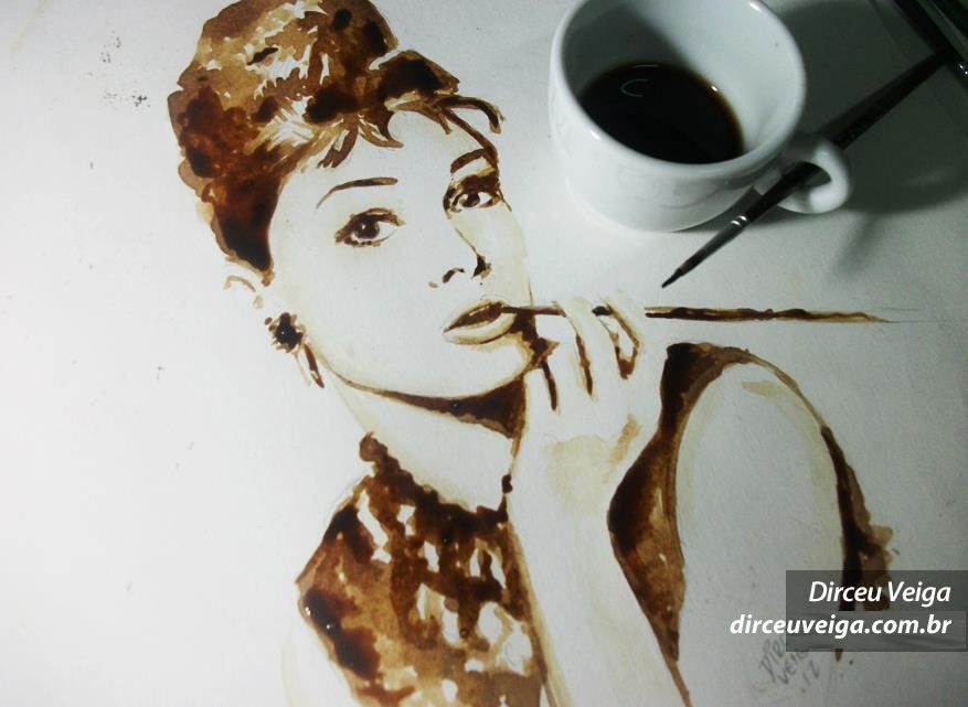 Audrey Hepburn Coffee Art - Pintura feita com Café