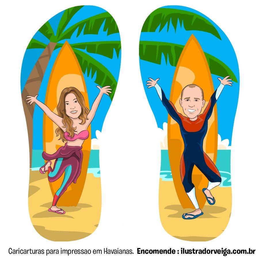 Havaianas Personalizadas com Caricatura I Ilustrador Dirceu Veiga