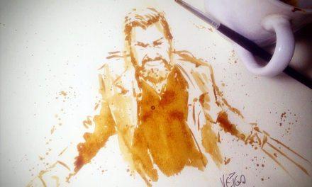 Logan Wolverine Pintura com Café pelo Ilustrador Dirceu Veiga