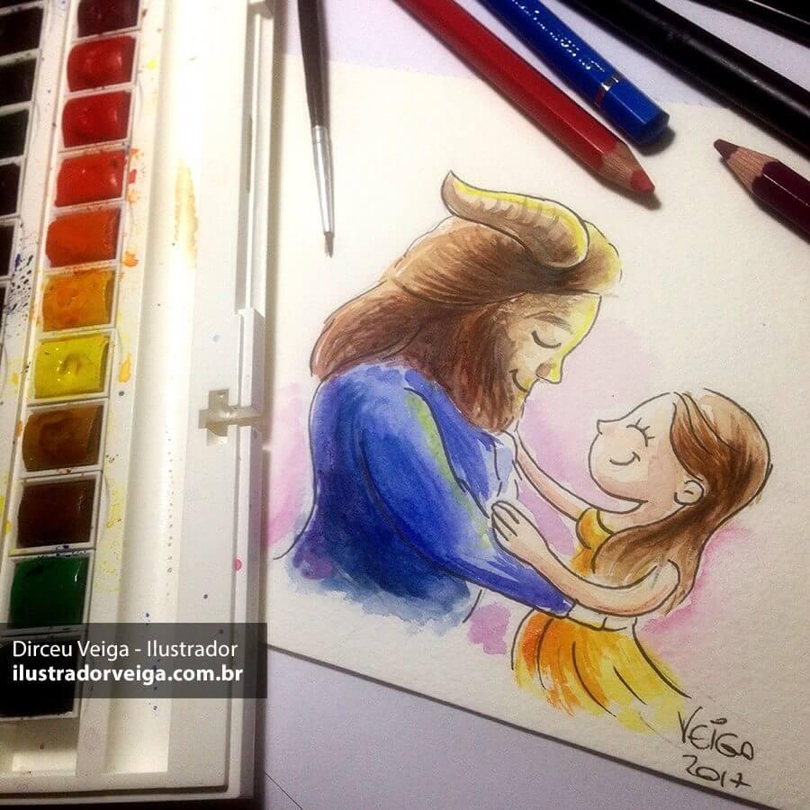 A Bela e a Fera Ilustrado em Aquarela
