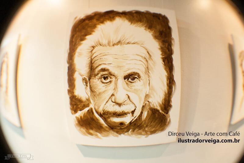Pintura com Café Albert Einstein