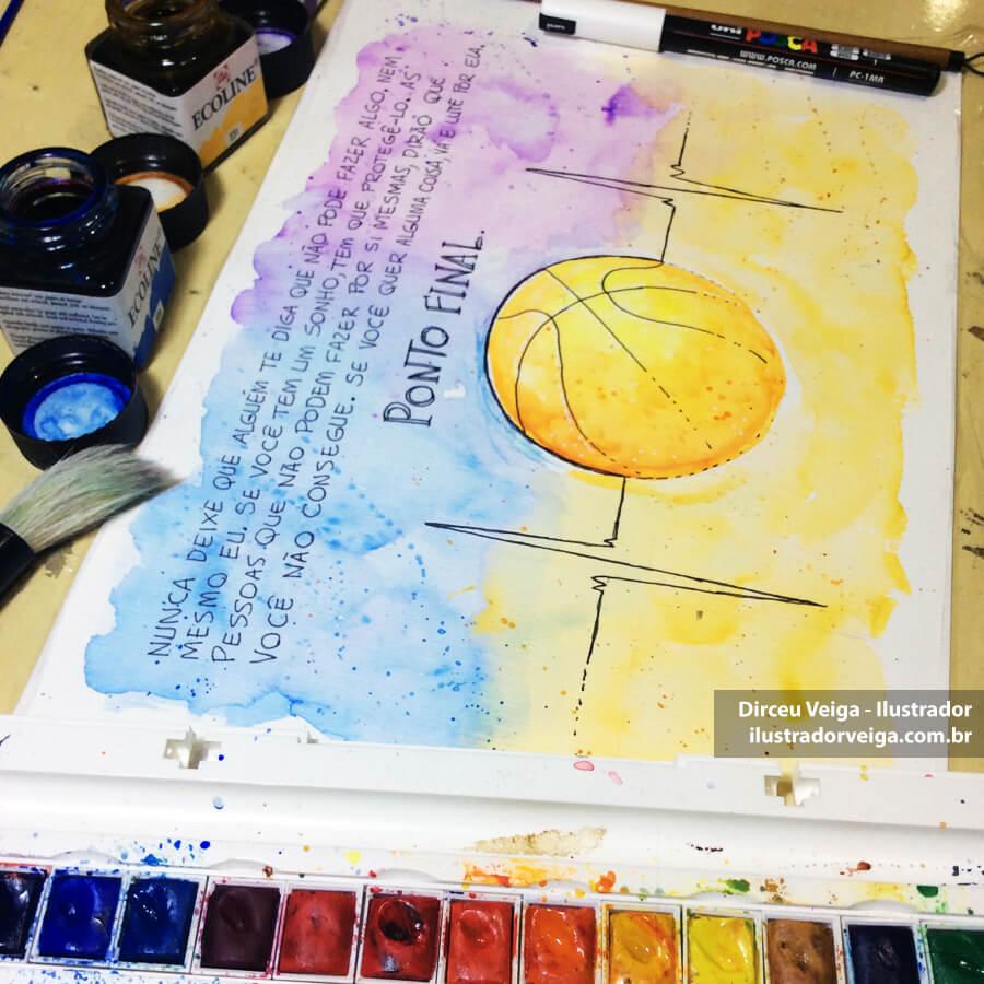 Ilustração em Aquarela com Frase