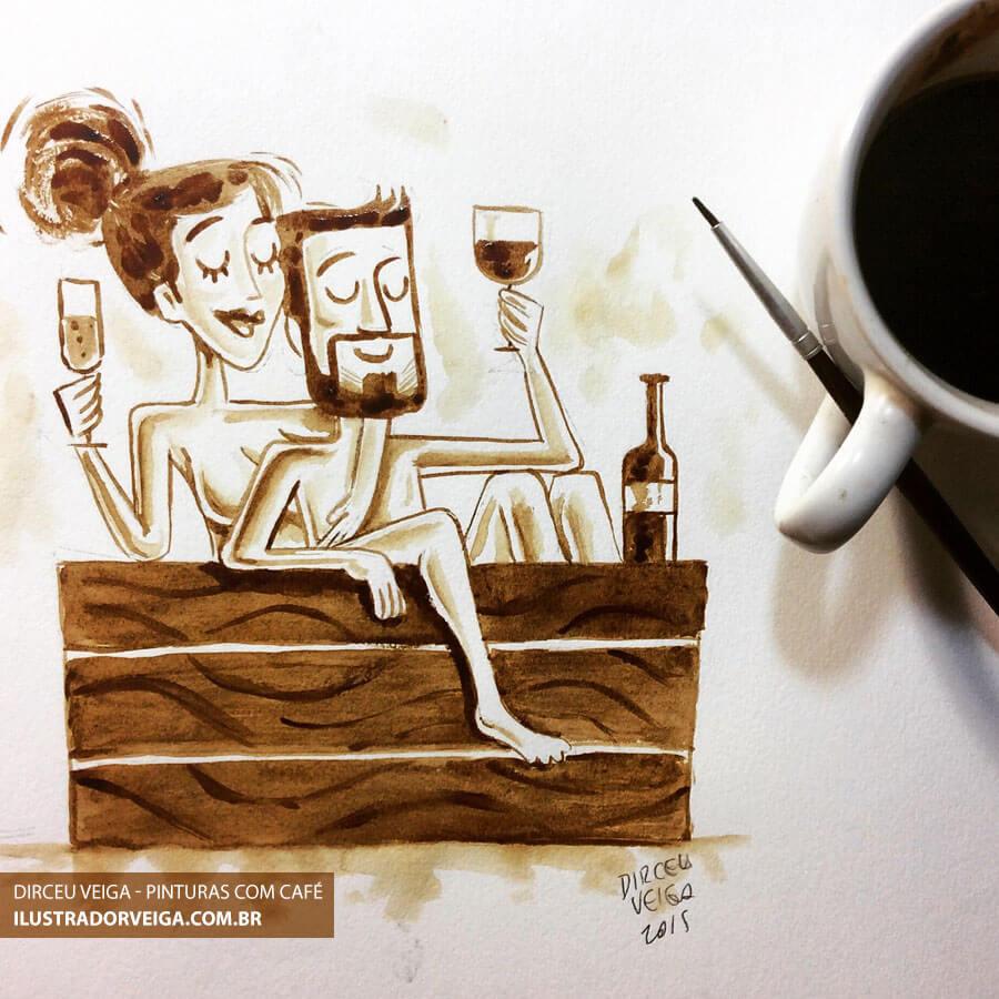 Pintura com Café Cartum